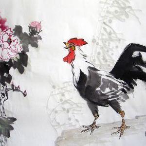 唐寅《画鸡》
