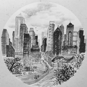 萧军香港街头写生系列作品
